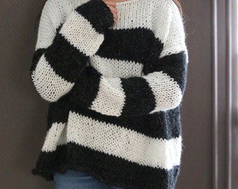 Chunky Knit Women Sweater, Stripe Black and White Sweater, Alpaca Blend Oversized Knitted Sweater, Loose Knit  Sweater, Slouchy Sweater
