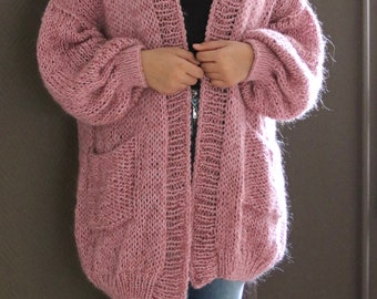 Oversized Chunky Knit Sweater with pocket,  Loose Knit, Open Style Sweater, Loose Knit,  Oversized Knit Cardigan/ Bernadette-vest