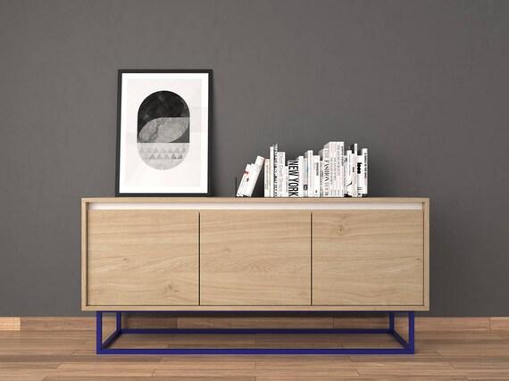 Midcentury Moderne Sideboard Eiche Natur Und Rot Etsy