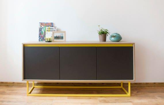 Midcentury Moderne Sideboard Eiche Natur Grau Und Gelb Etsy