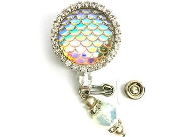Beautiful Opal Iridescent Mermaid Scale ID Badge Reel! Medical Pediatric Nurse, teacher, office, doctor, lab tech, RN, coworker gift!