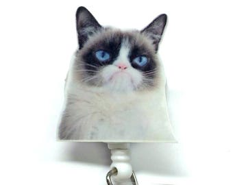 Grumpy Cat ID Badge Reel. Medical Pediatric Nurse, teacher, office, doctor, lab tech, RN, MA, coworker gift! Secret Santa Dirty Santa Gift!