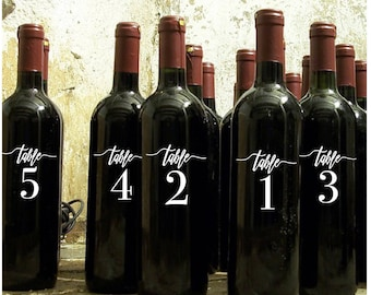 Wedding table numbers, wine bottle decals, wedding decals, wedding table stickers, vinyl decals