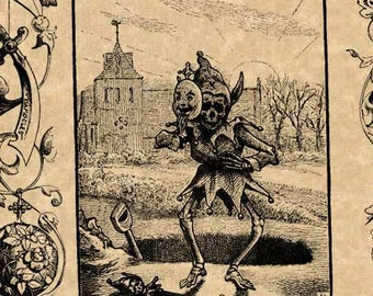 Antique Emblem Art Print Creepy Skeleton In Jester Costume Dancing At Grave and Decorative Border 1886 W.H. Rogers Goth