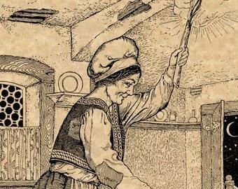 "C.F. Arcier 1915 ""The Magic Peas"" Antique Children's Fairy-Tale Story-Book Art Print Kitchen Apron Wall Decor"