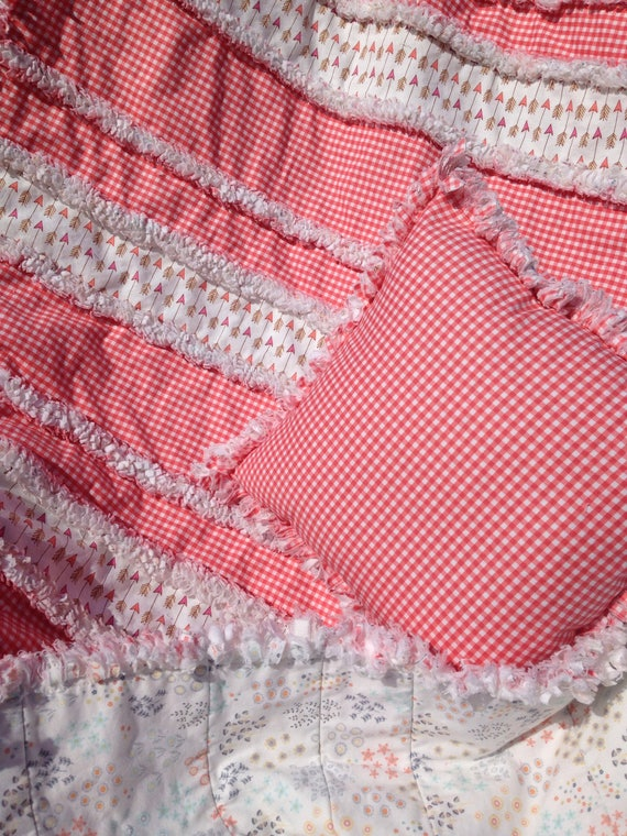 Plaid Baby Quilt: Country Coral Plaid Crib Quilt. Rag Quilts For Baby