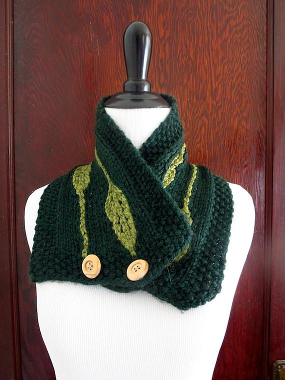 Hand Smaragd grünes Blatt Schal stricken zugeknöpft Kutte | Etsy