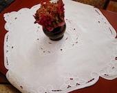 Square vintage Madeira tablecloth. Antique Linen White Vintage Richelieu tablecloth.