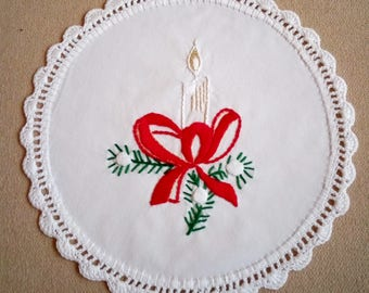 Hand-embroidered Christmas doily, holiday candle embroidery