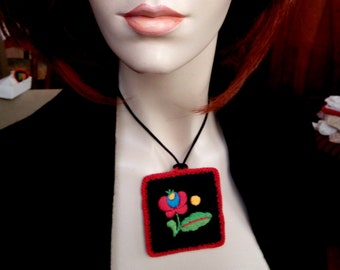 Hand-embroidered pendant, with flower folk motif, Hungarian embroidery necklace