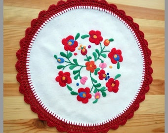 """Hungarian embroidery, 11"""" hand embroidered Matyo doily with hand crocheted borders"""