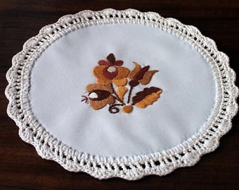 """Hand-embroidered 8"""" Hungarian coaster, doily, Matyo Embroidery from Hungary"""