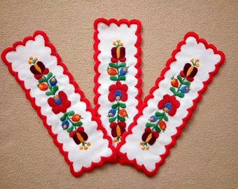 Hand-embroidered bookmark with Hungarian, Matyo embroidery
