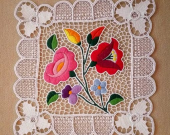 Hand embroidered Kalocsa lace embroidery (Richelieu) doily with authentic Hungarian pattern