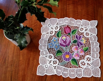 """Hand embroidered 10"""" Kalocsa lace embroidery (Richelieu) doily with authentic Hungarian embroidery pattern"""