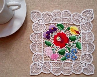 """Hand embroidered 7.5"""" Kalocsa lace embroidery (Richelieu) doily with authentic Hungarian pattern"""