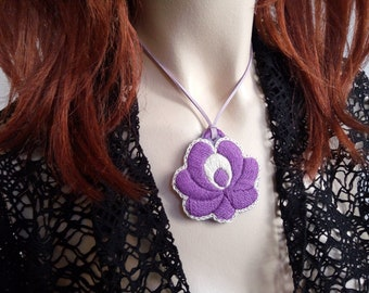Hand-embroidered pendant, with flower folk motif, Hungarian embroidery jewel