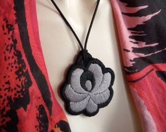 Hand-embroidered pendant, with flower folk motif, Hungarian embroidery jewel necklace