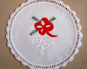 Hand-embroidered Christmas doily with hand-fringed borders, holiday ornament