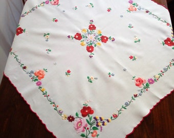 Hand embroidered vintage square tablecloth, table linen ornament. Hungarian, Kalocsa-style embroidery