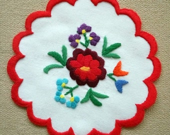 "Hand embroidered 5.5"" Kalocsa doily, table linen ornament. Hungarian embroidery"