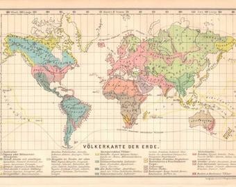 Vintage World Map Etsy - Vintage looking world map