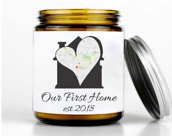 New Home Gift Housewarming Gift House Warming Gift First Home Gift Scented Candle Gift Personalized Gift for Home Moving Gift Beeswax Candle