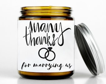 Officiant Gift, thank you gift, wedding gift, gift for him, wedding gift idea, personalized gift, gift for her, gift for officiant, candle