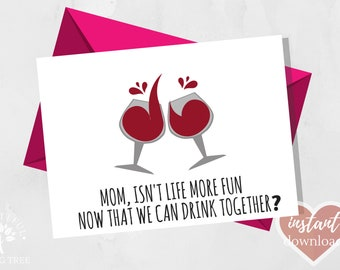Funny Mothers Day Card Mom Wine Last Minute Birthday Greeting For