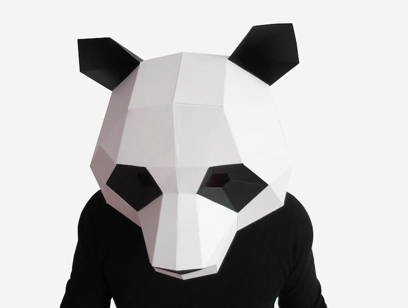 Cute Panda Mask, DIY Gift Idea, DIY Printable Animal Mask, Instant Pdf  Download, 3D Low Poly Masks, Papercraft Template, Origami Panda