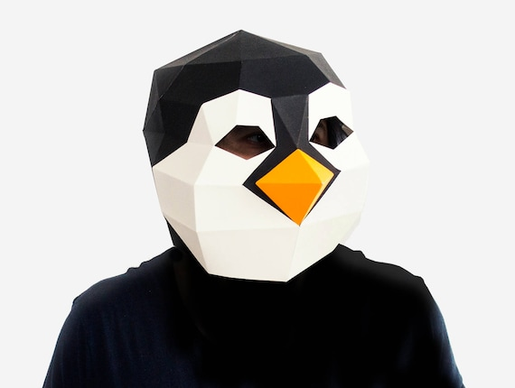 Diy Penguin Mask 3d Paper Craft Template Halloween Mask Printable Paper Mask Instant Pdf Download Low Poly Mask Origami Penguin