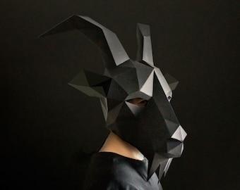 Black Phillip - Goat Mask, Paper Mask, Animal Mask, DIY Animal Costume, Instant Pdf download, DIY Animal Mask, Printable DIY Polygon Masks