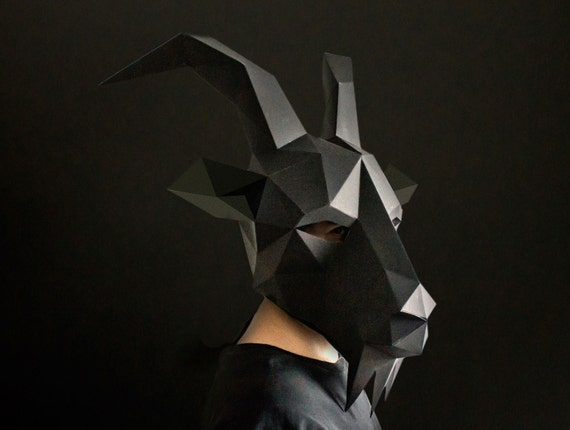 Black Phillip Goat Mask Paper Animal DIY