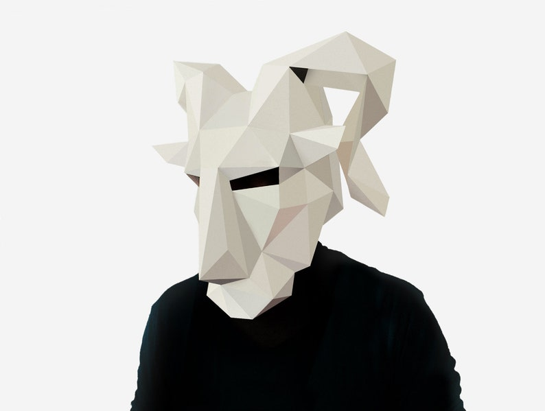 DIY Goat Mask, Pan Mask, 3D Paper Craft Template, Halloween Mask, Printable  Paper Mask, Instant Pdf Download, Low Poly Mask, Origami Mask