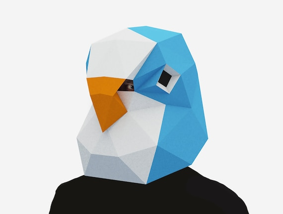 Diy Budgie Mask Bird Mask 3d Paper Craft Template Halloween Mask Printable Low Poly Paper Mask Instant Pdf Download Origami Gift Idea