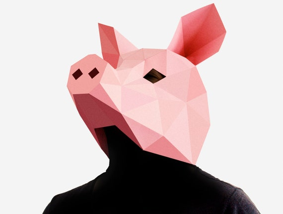 Pig Mask Diy Printable Animal Head Instant Pdf Download Low Etsy