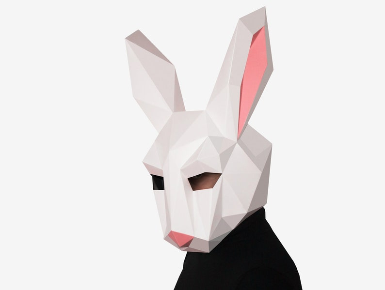 DIY Rabbit Mask, Bunny Mask, Paper Craft Template, Printable Mask, Instant  Pdf Download, 3D Low Poly Mask, Origami Mask, Bunny Gift