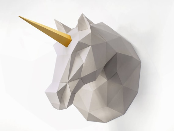 Unicorn Sculpture 3d Paper Craft Diy Wall Art Origami Unicorn Low Poly Paper Art Home Decor Unicorn Gift Print At Home Pdf