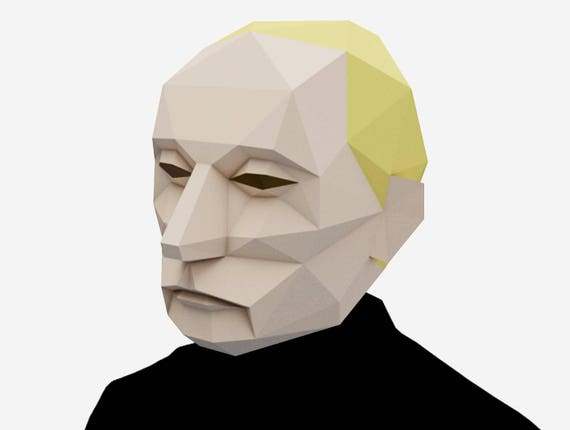 Diy Vladimir Putin Mask 3d Paper Craft Template Halloween Etsy