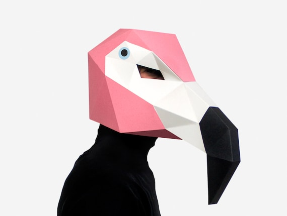 Diy Flamingo Mask Bird Mask 3d Paper Craft Template Halloween Mask Printable Paper Mask Instant Pdf Download Low Poly Origami Bird