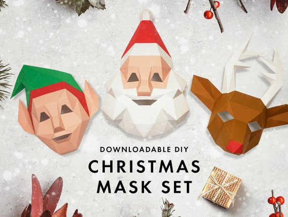 Set of 3 Christmas Masks, Christmas Costumes, DIY Christmas Gift, Santa  Claus, Elf, Reindeer, Christmas Party Decoration, DIY Paper Mask