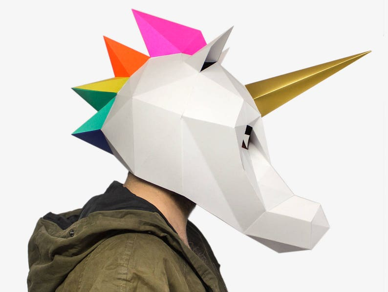 picture about Printable Paper Craft referred to as Unicorn Mask, Unicorn Paper Craft Template, Do-it-yourself Printable Animal Mask, Prompt Pdf Down load, 3D Very low Poly Mask, Lapa Studios, Unicorn Present