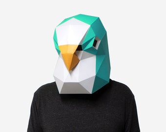 DIY Budgie Mask, Bird Mask, 3D Paper Craft Template, Halloween Mask, Printable Low Poly Paper Mask, Instant Pdf Download, Origami Gift Idea