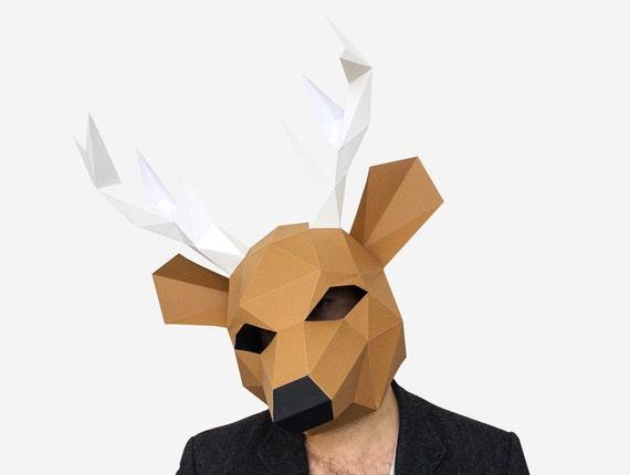 deer mask paper mask animal mask diy animal head instant etsy