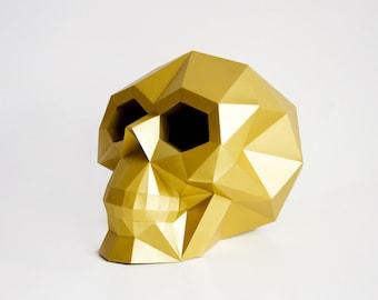 Skull Sculpture, Paper Art, DIY Christmas Gift, Gift Ideas, Interior, Home Decoration, Instant Pdf download, Paper Art, Wall Decor
