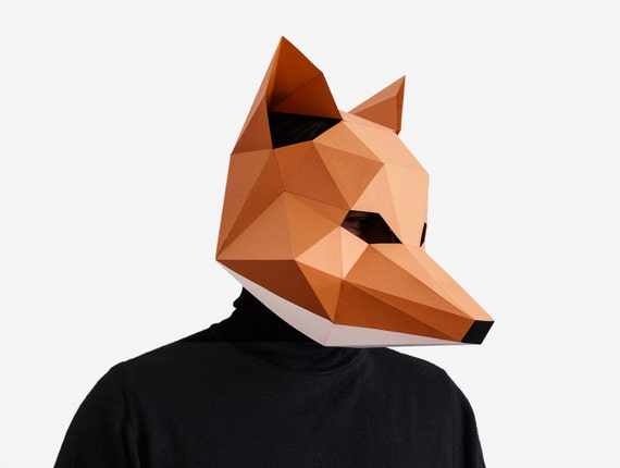 Fox Mask DIY Printable Animal Head Instant Pdf Download
