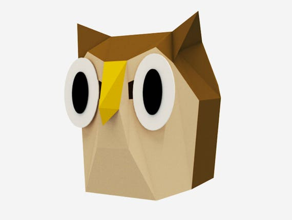 Diy Big Eyes Owl Mask 3d Paper Craft Template Woodland Owl Halloween Mask Printable Low Poly Paper Mask Pdf Download Origami Owl