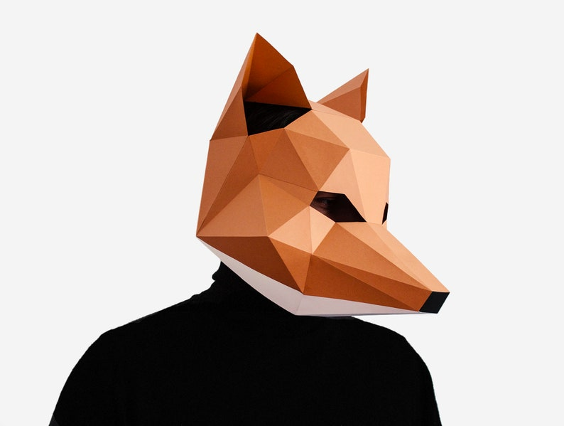 graphic about Printable Fox Mask referred to as Fox Mask, Do it yourself Printable Animal Mask, Papercraft Template, Fast Pdf Down load, 3D Lower Poly Masks, Origami Fox, Lapa Studios
