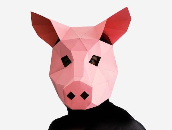 Pig mask diy printable animal head instant pdf download diy etsy 50 maxwellsz