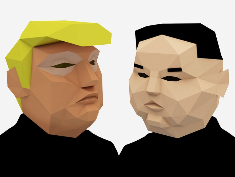 photo regarding Donald Trump Mask Printable identified as Donald Trump Mask, Kim Jong Un Mask Combo for Halloween, Printable Mask, Do it yourself Reward, Prompt Printable Pdf Templates